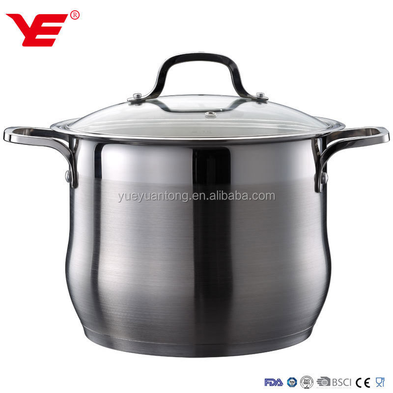 NO MOQ stainless steel stock pot / clear glass cooking pot / belly shape steel cookware