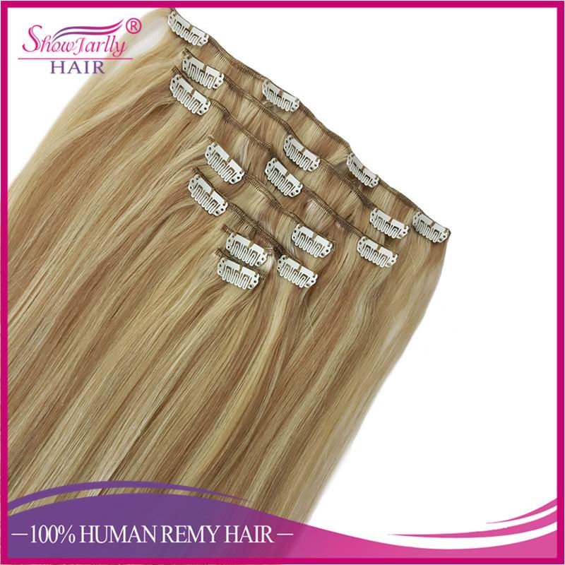 Top grade 120g 160g 220g 260g russian ombre human virgin hair double weft clip in hair extensions