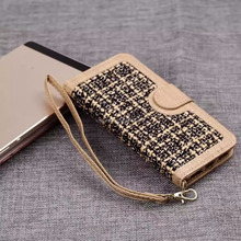 hot selling products braid Jeans leather case for apple iPhone 7, woven pattern for iphone 7 wallet case