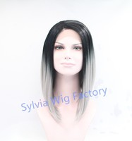 In stock!!grey ombre wig dark roots short bob wigs for black women synthetic lace front wig heat resistant Synthetic Hair