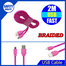 Factory for sale fabric braided 3 metre for iphone 5s cable with ic