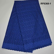 African Dry/polish lace voile with stones fabric nigerian for women thin pure white cotton