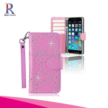 Crystal Rhinestone Luxury Flip Wallet Leather Handmade Phone Case For Iphone 6