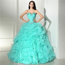 Gorgeous Mint Green/Purple Ball Gown Quinceanera Dresses Luxury Tiered Ruffles Skirts Prom Party Gowns With Detachable Neck 2018
