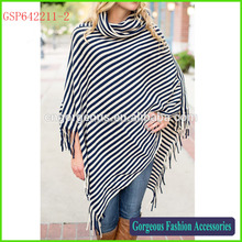 Hot selling new trend stripe poncho,Knitted pattern poncho