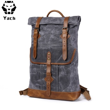 Outdoor waxed canvas water proof travelling big hiking camping bagpack back pack backpack bag