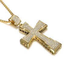Men Jewelry Hip Hop Rapper Vintage Crystal Inlaid Gold Plated Long Chain Cross Pendant Necklace