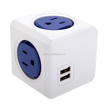 POWERCUBE 125V/15A Universal 4 Outlet Grounded Socket Power Strip 2 USB Blue