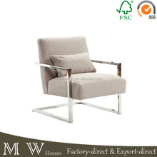 living room furniture stainless steel frame upholstered square arm chair