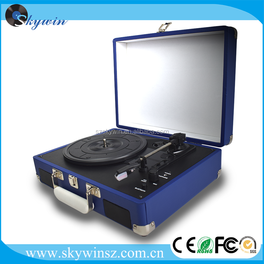 Best Gift Custom Design USB Bluetooth Suitcase Turntable Vinyl Record Player