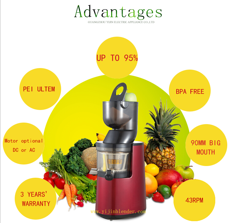 New big mouth 90mm slow juicer extractor