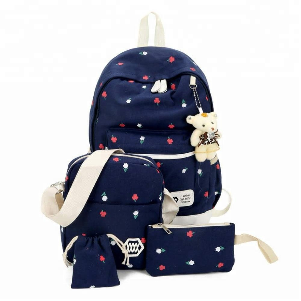 Printing Canvas Girls Antitheft Book Backpack Large 4pc Set Child School <strong>Bag</strong>