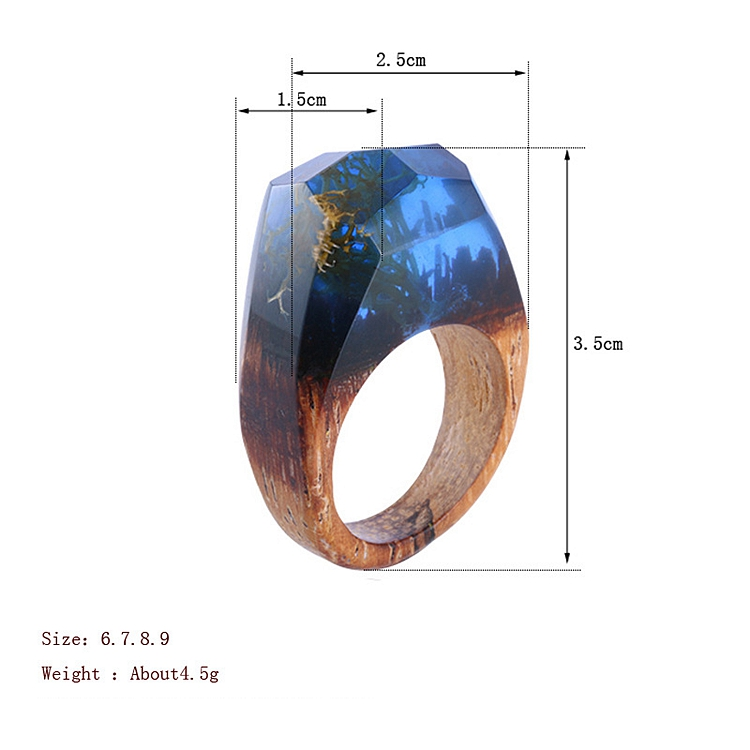 Fashion Resin Wood Rings, Black Forest Fangorn Parts Tree Film Resin Wood Ring