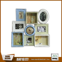 French Style 3 Small Paper Printing Wall Cabinet Clock Wall Hanging Picture Photo Frame