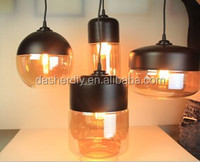 European simple light glass lampshade amber color with metal celling rose 4pcs/set
