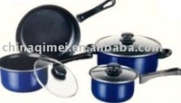 7pcs cast iron cookware set with glass lid