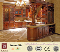 FoShan Antique Design Solid Wood and Glass Kitchen Cabinet Furniture