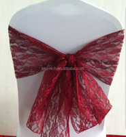 Burgundy Lace sashes wedding decoration chairs for sale/lace chair sash