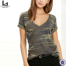 Wholesale pull over short sleeve green camo bulk t shirt printing for women