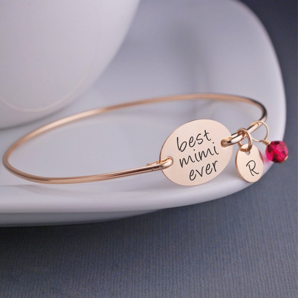 Wholesale Best Friend Rose Gold Plated Custom Message Wire Bangle Charm Bracelet