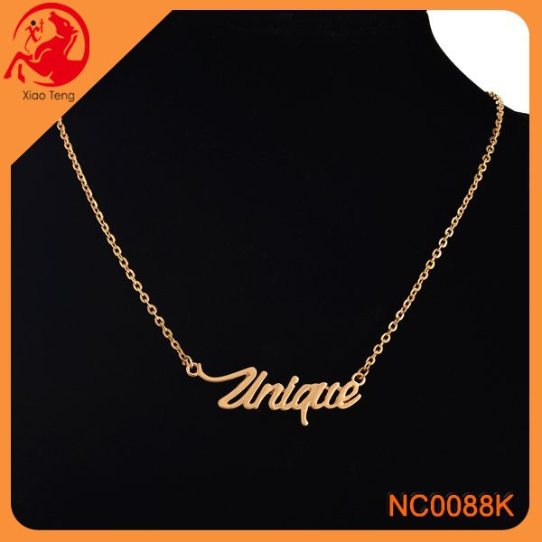 Alibaba Direct Manufacturer Fashion Cheap Gold Plated Unique Word Necklace Jewelry Engraved Words Necklace