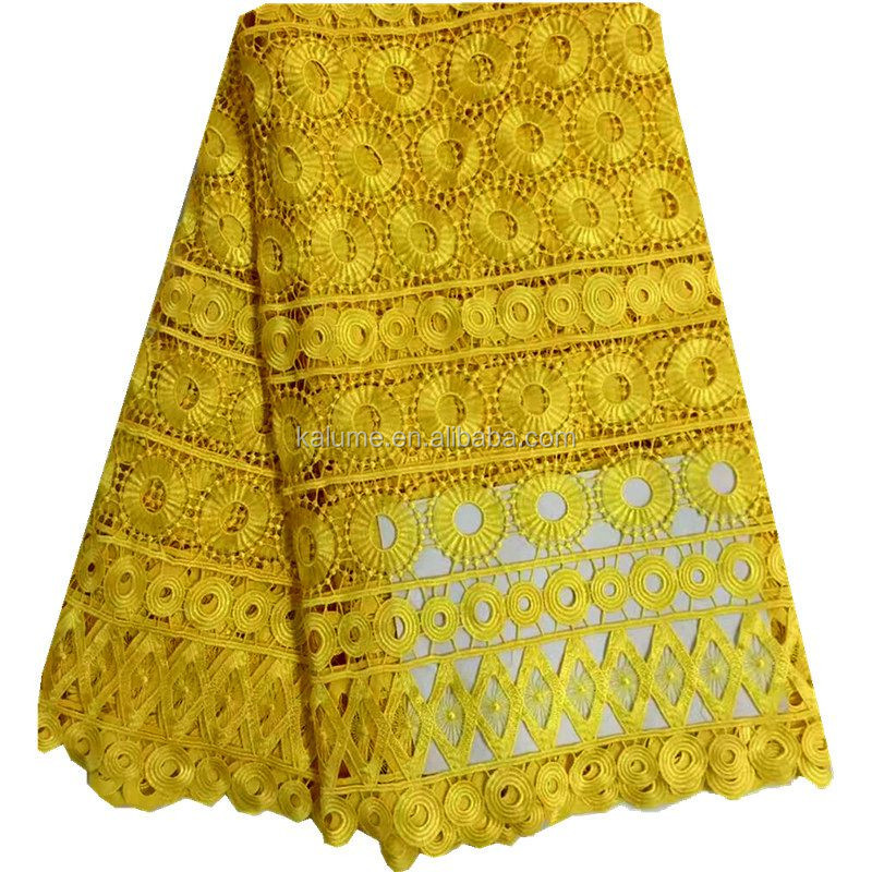 Yellow French Guipure Cord Lace Fabric Wholesale African Swiss Lace For Sewing Beauty Women Dress DG0629-29
