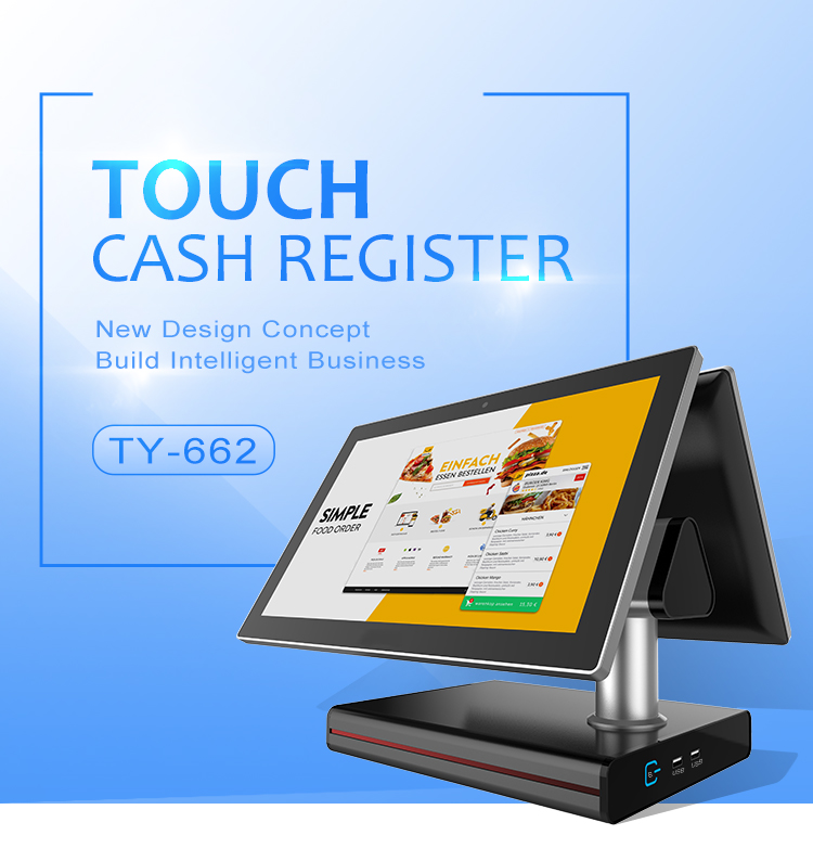 15.6 inch pos machine dual screen all in one electronic touch screen cash register for restaurant