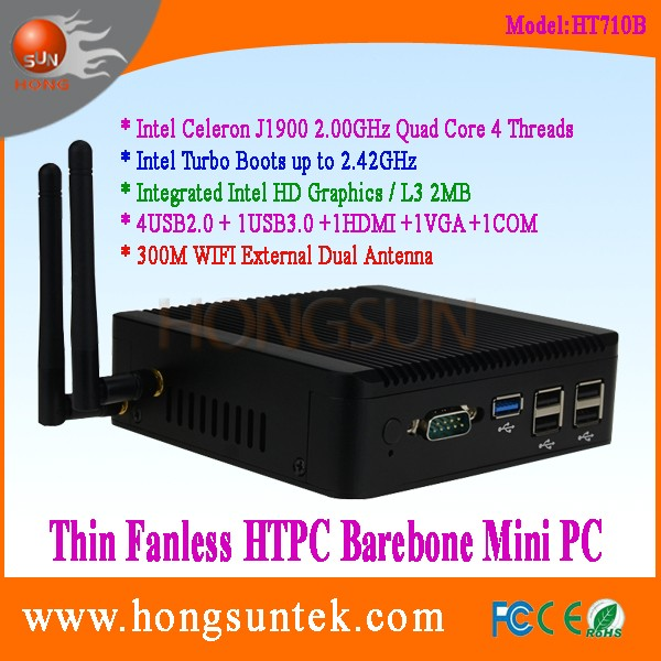 HT710B Intel Celeron J1900 2.00-2.42GHz Quad Core 4 Threads USB COM Thin Client Fanless Barebone Cheap Mini PC