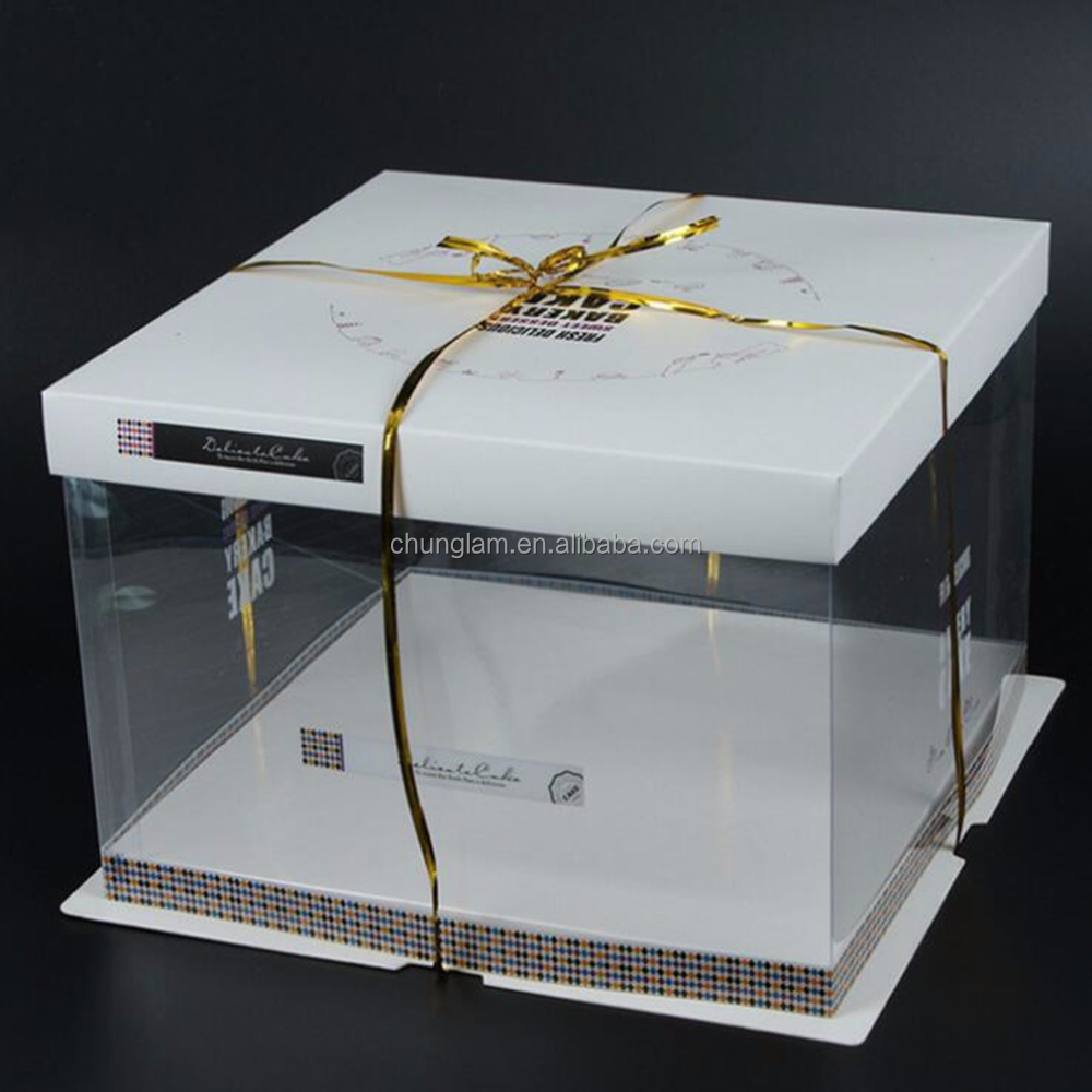 6/8/10 Inch Square Plastic folding gift box for Birthday Cake&food packaging