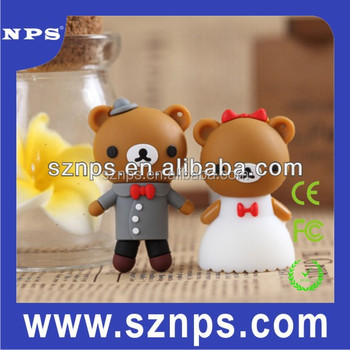2015 top sell for fashion bears custom rubber high quality wedding usb flash drive