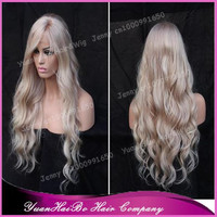 Top 7A Quality! 10-32inch loose wave human hair virgin malaysian blonde full lace wig