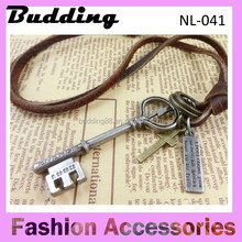Leather rope Antique cross and Key Pendant Necklace