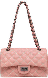 pink messenger bag quilted bag pu leather with rotating button