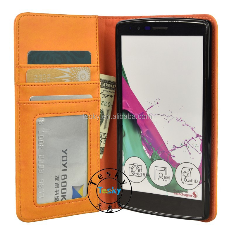 for lg g4 cover, luxury handmade synthetic leather folio cover wallet credit card slot holder smartphone case for lg g4