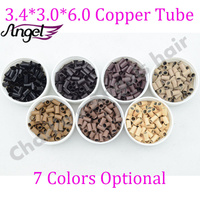 OEM Acceptable wholesale 3.4*3.0*6.0mm Micro copper tubes/Rings/links/beads tool for Human Hair Extensions 7colors in stock