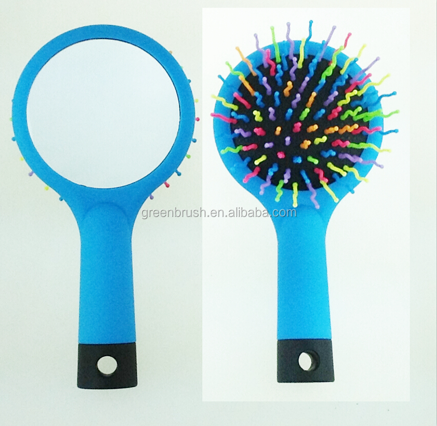 Soft touch rubber finish sponge brush for hair