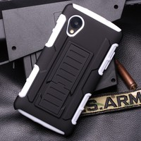 Factory wholesale Cell Phone case Belt Clip Holster Rugged Hybrid Hard Stand Case For Google LG Nexus 5 D820 D821