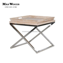 cross leg oak wooden top stainless steel metal tray side table