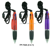 Short 4 in 1 ballpoint pen on a rope/Short ballpoint pen with logo printing