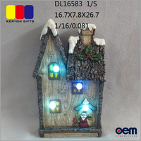 Miniature LED Lighted Resin Christmas house wood like