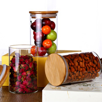 Wholesale heat borosilicate kitchen glass jars with wooden lid QM3370