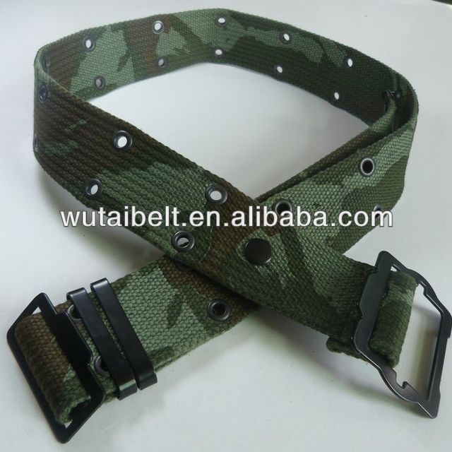 2018 Yiwu manufacturer Green camouflage with metal buckle security belt
