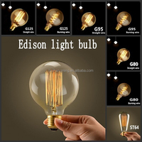 China manufacture wholesale e27 clear bulb g125 vintage edison bulb 40w 60w antique filament light bulb for home decor
