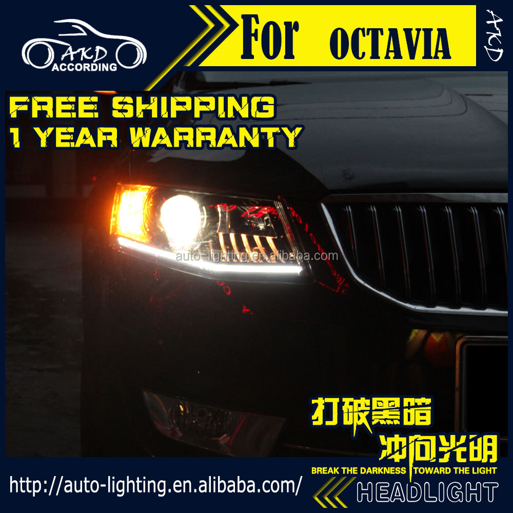 AKD Car Styling for Skoda Octavia LED Headlight 2014-2016 New Octavia LED Head Lamp Projector Bi Xenon Hid H7