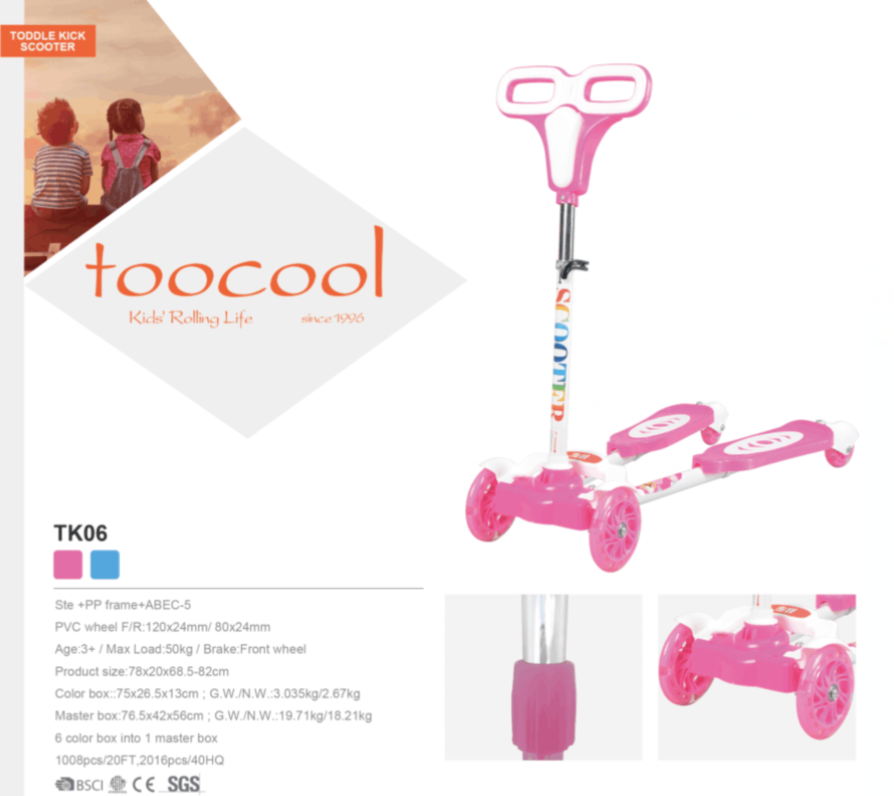 Pink off road kick scooter with large wheel TK06