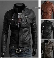 New Hot Men's short jackets Slim motorcycle leather jacket collar coat outerwear