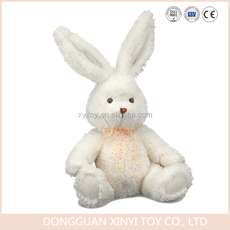 Factory manufacturer made stuffed white plush rabbit toy