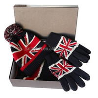 2015 new design figured unisex fashion knitted beanie hat with pompom &scarf &glove