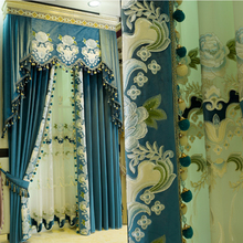 2017 blue Italian velvet embroidered British style curtains