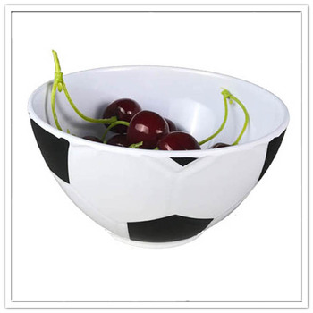 Customized wholesale soccer shape melamine plastic snack bowl